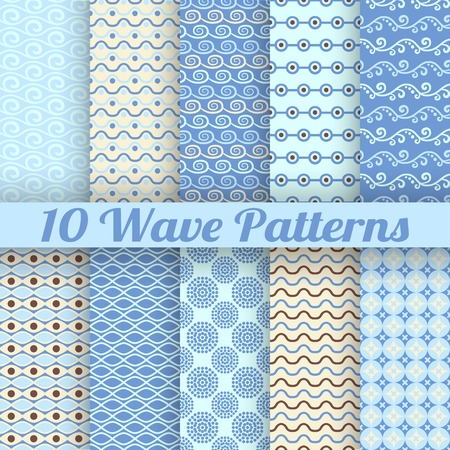 Wave different seamless patterns (tiling). Vector illustration for abstract aqua design. Endless texture can be used for fills, web page background, surface. Set of blue wallpaper with waves. Vector