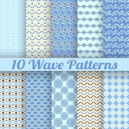 behang blauw: Zwaaien verschillende naadloze patronen (tegels). Vector illustratie voor aqua design. Eindeloze textuur kan worden gebruikt voor fills, webpagina achtergrond, oppervlaktestructuren. Set van blauwe achtergrond met golven. Stock Illustratie
