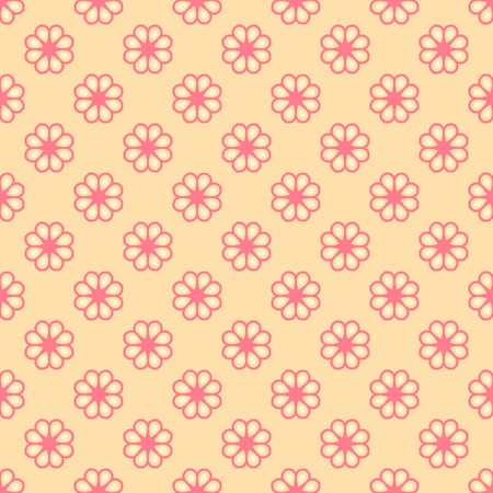fond: Feminine vector seamless pattern (tiling). Fond pink and orange colors. Endless texture can be used for printing onto fabric and paper or invitation. Flower, dot shapes.