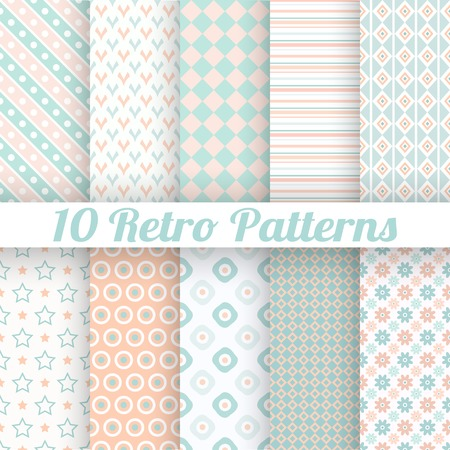 mint: 10 Pastel retro different vector seamless patterns (tiling). Endless texture can be used for wallpaper, web page background, surface textures. Set of geometric ornaments. Orange, blue and white colors Illustration