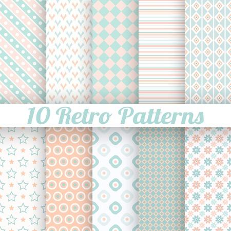10 vecteurs différents pastel seamless patterns rétro (carrelage). Sans fin la texture peut être utilisé pour le papier peint, fond de page web, textures de surface. Ensemble de motifs géométriques. Orange, bleu et les couleurs blanches Vecteurs