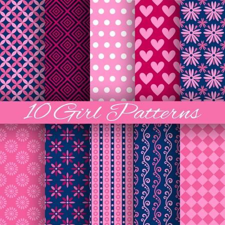 vector girl: 10 Bright girl vector seamless patterns (tiling). Pink and blue colors. Endless texture can be used for printing onto fabric and paper or scrap booking. Heart, floral, stripe and dot shape. Illustration