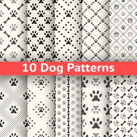 onto: Set of animal seamless vector pattern of paw footprint in repeating rhombus. Endless texture can be used for printing onto fabric, web page background. Dog style. White and black colors.
