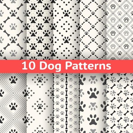 Set van dierlijke naadloze vector patroon van poot voetafdruk in het herhalen van ruit. Eindeloze textuur kan worden gebruikt voor het printen op stof, webpagina achtergrond. Hond stijl. Witte en zwarte kleuren.