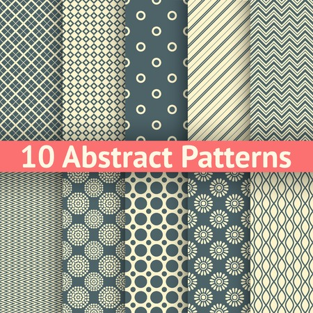 10 Abstract vintage vector seamless patterns (tiling). Endless texture for wallpaper, fill, web page background, surface texture. Set of abstract geometric ornament. White and blue shabby colors. Vector