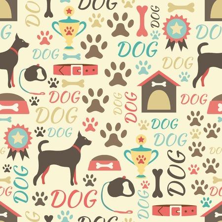 犬アイコンのレトロなシームレスなベクター パターン。ORnto 生地を印刷、web ページの背景と紙または招待の無限のテクスチャを使用できます。後背