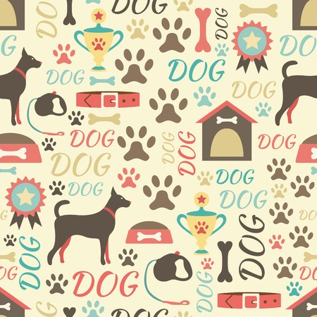 Retro seamless vector pattern of dog icons. Endless texture can be used for printing oRnto fabric, web page background and paper or invitation. Doggy style. Retro colors. 向量圖像