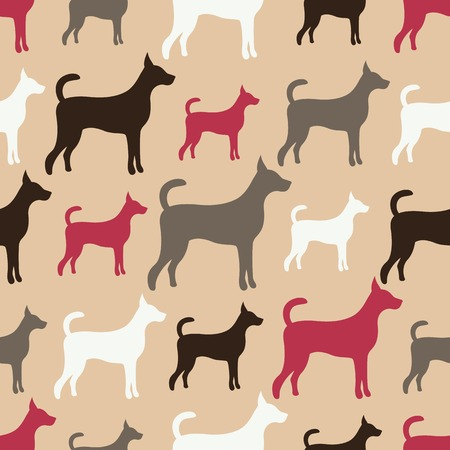 Animal seamless vector pattern of dog silhouettes. Endless texture can be used for printing onto fabric, web page background and paper or invitation. Doggy style. White, grey, red and black colors. Vector