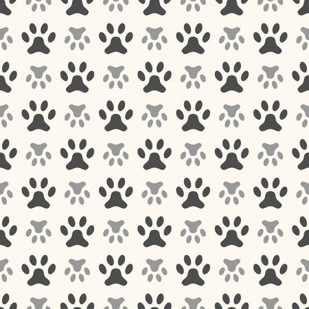 huellas de animales: Modelo animal inconsútil de la huella de la pata. Textura fin se puede utilizar para la impresión sobre la tela, de fondo página web y el papel o la invitación. Estilo perro Polka. Blanco y negro colores.