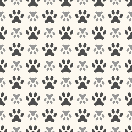 Seamless animal pattern of paw footprint. Endless texture can be used for printing onto fabric, web page background and paper or invitation. Polka dog style. White and black colors. Vector