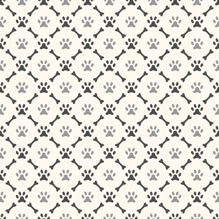 Seamless animal pattern of paw footprint and bone. Endless texture can be used for printing onto fabric, web page background and paper or invitation. Dog style. White and black colors. Vector