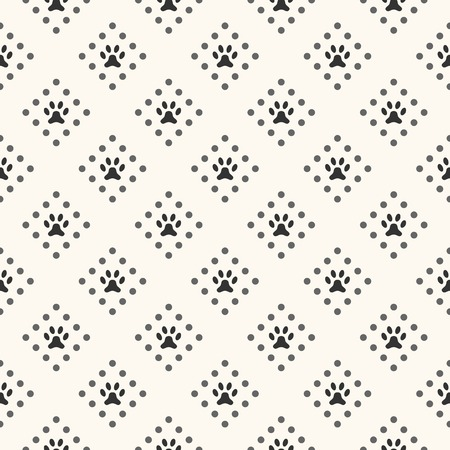 Seamless animal pattern of paw footprint and dot. Endless texture can be used for printing onto fabric, web page background and paper or invitation. Dog style. White and black colors. Vector