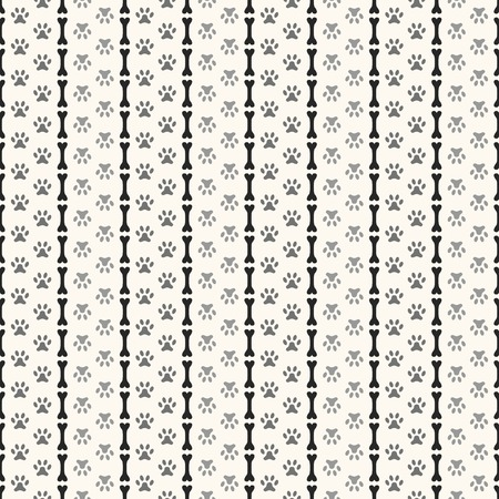 Seamless animal pattern of paw footprint and bone. Endless texture can be used for printing onto fabric, web page background and paper or invitation. Parallel dog style. White and black colors. Vector