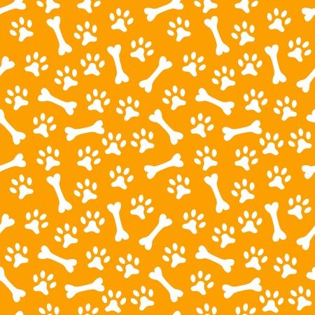 huellas de perro: Animal patrón de vectores sin fisuras de la huella de la pata y el hueso. Textura fin se puede utilizar para la impresión sobre la tela, de fondo página web y el papel o la invitación. Estilo del perro. Blanco y naranja colores.