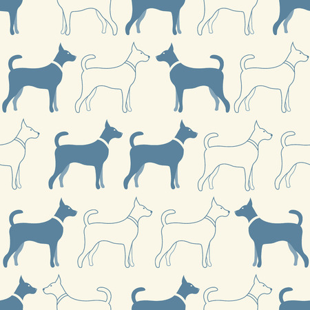 Cute doodle seamless vector pattern of dog silhouettes. Endless texture can be used for printing onto fabric, web page background and paper or invitation. Doggy style. White and blue colors. Vector