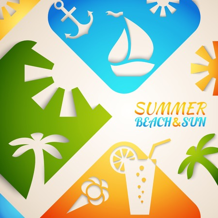 Abstract summer vector illustration. Bright beach and sun concept design. Green, blue and orange colors. Hot tropical recreation poster. Travel positive rest advertising brochure. Happy dream vacation Vector