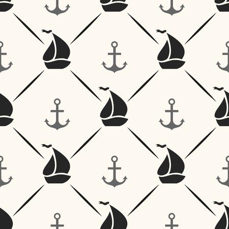 アンカー、帆船の形およびラインのシームレスなベクター パターン。布、web ページの背景と紙や招待状の上に印刷するための無限のテクスチャです