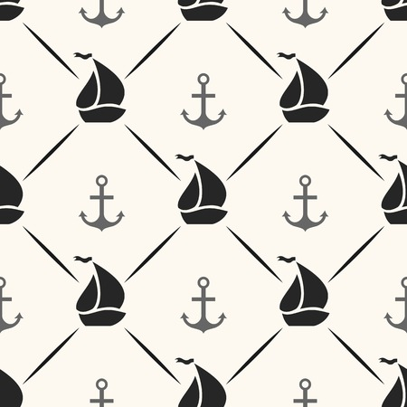 Seamless vector pattern of anchor, sailboat shape and line. Endless texture for printing onto fabric, web page background and paper or invitation. Abstract retro nautical style. White and black colors Vector