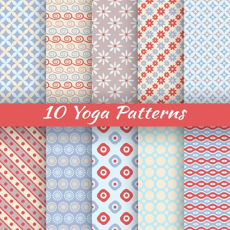 10 Yoga vector seamless patterns (tiling). Light blue and red colors. Endless texture can be used for printing onto fabric and paper or invitation. Flower, wave, dot, stripe shape. Vector