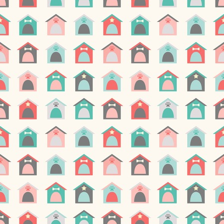printing house: Animal seamless vector pattern of kennel. Endless texture can be used for printing onto fabric, web page background and paper or invitation. Doggy style. Retro colors. Dog home, house.
