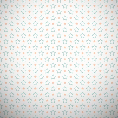 fond of children: Pastel retro vector pattern (tiling). Endless texture can be used for wallpaper, web page background, surface textures. Geometric star ornaments. Orange, blue and white colors