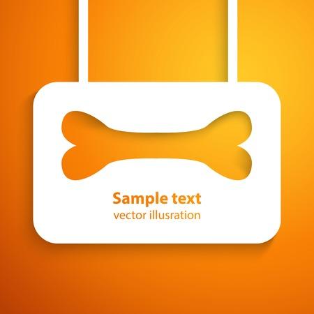 orange cut: Icono ilustraci�n marco Vector �sea del Applique de animal feliz dise�o del hueso cortado de papel blanco sobre fondo naranja