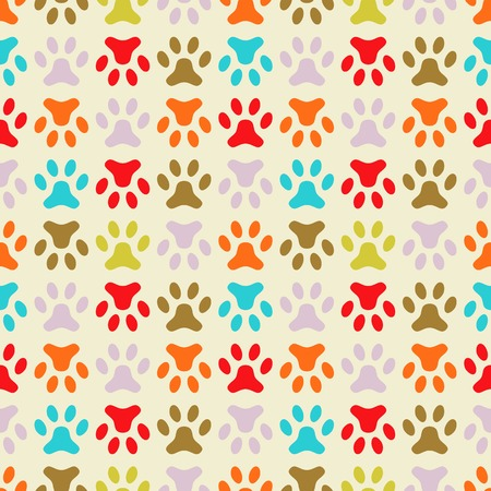 Animal seamless vector pattern of paw footprint  Endless texture can be used for printing onto fabric, web page background and paper or invitation  Polka dog style  Retro colors  Illustration