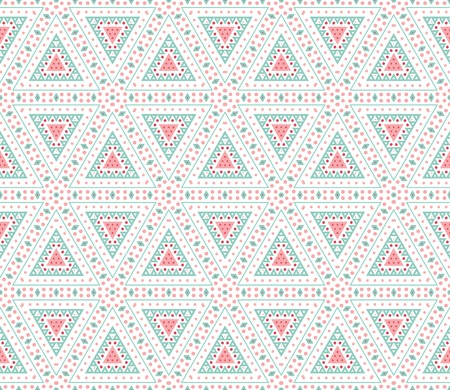 Tribal ethnic seamless pattern  Vector illustration for your cute feminine romantic design  Pink, white and blue colors  Triangle shapes  Vector