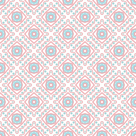 Tribal ethnic seamless pattern  Vector illustration for your cute feminine romantic design  Pink, white and blue colors  Square shapes  Vector