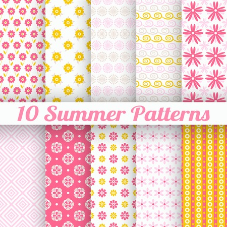 color swatch book: 10 Light summer vector seamless patterns  tiling   Fond pink, white and yellow colors  Endless texture can be used for printing onto fabric and paper or invitation  Flower, curl and dot shapes  Illustration