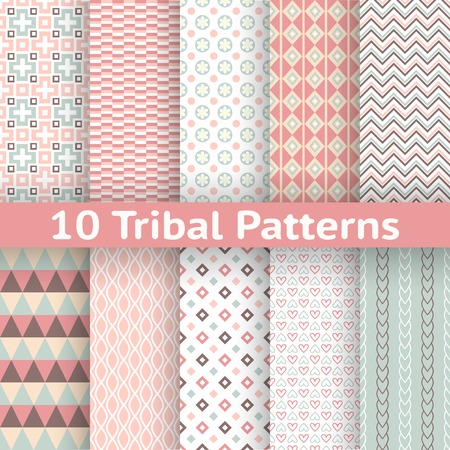 10 Tribal vector seamless patterns  tiling   Endless texture can be used for wallpaper, pattern fill, web page background, surface textures  Set of aztec geometric ornaments  Vector