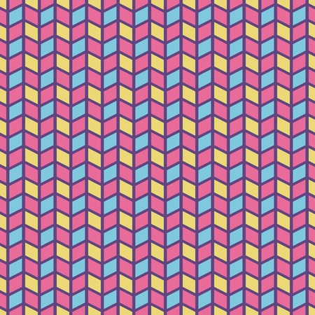 Colorful crazy vector seamless pattern  tiling   Pink, yellow and blue colors  Endless texture can be used for printing onto fabric and paper or scrap booking  Abstract stripe and cube shapes Vector