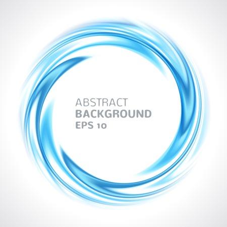 青い渦巻サークル明るい背景ベクトル イラスト フレームまたはバナー ラウンド モダンなデザインのテキストのための場所の抽象化します。