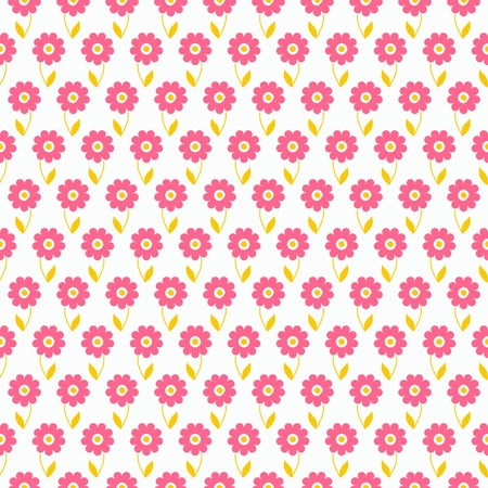 color swatch book: Light summer vector seamless pattern  tiling   Fond pink, white and yellow colors  Endless texture can be used for printing onto fabric and paper or invitation  Flower and dot shapes