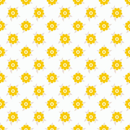 fond: Light summer vector seamless pattern  tiling   Fond white and yellow colors  Endless texture can be used for printing onto fabric and paper or invitation  Flower and dot shapes