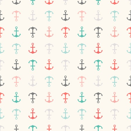 fleet: Seamless vector pattern of anchor shapes  Endless texture for printing onto fabric, web page background and paper or invitation  Abstract retro nautical style  Retro colors