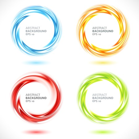 Set of abstract swirl circle bright background  Vector illustration for you modern design  Round frame or banner with place for text  Blue, yellow, orange, red and green colors