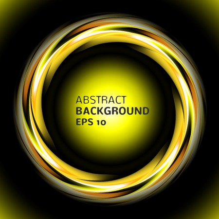 Abstract light yellow swirl circle on black background  Vector illustration for you modern design  Round frame or banner with place for text  Night party time  Illustration