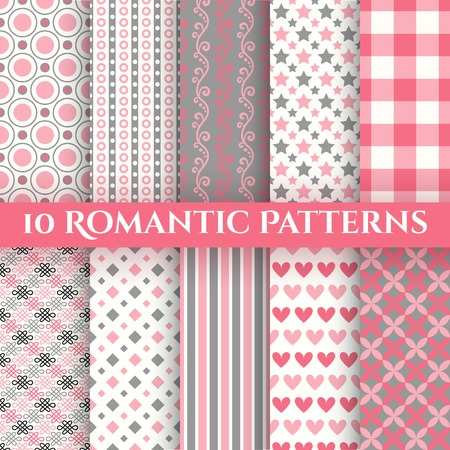 10 Romantic vector seamless patterns  tiling   Fond red, pink, grey and white colors  Endless texture can be used for printing onto fabric and paper or invitation  Abstract geometric shapes  Vector