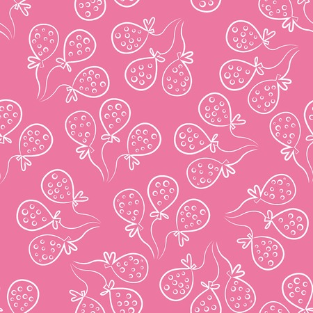 Seamless pattern with balloons. Cute doodle style. Pink and white colors.