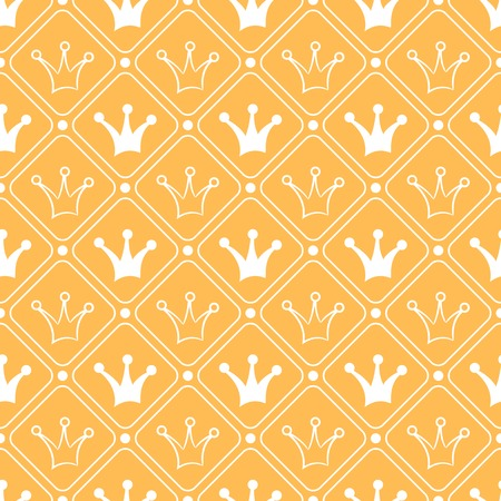 Simple seamless vector pattern with crown. Orange and white colors.