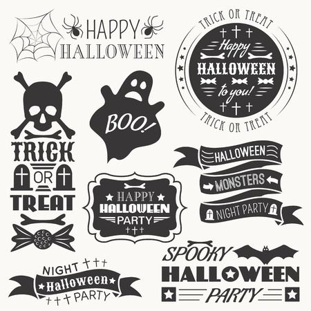 Set of halloween decorative elements. Vector illustration. Monochrome white and black colors version. Vector