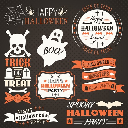 Halloween vintage set - labels, ribbons and other decorative elements. Vector illustration. Black, white and red colors.
