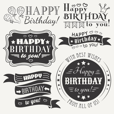 Happy birthday greeting card collection in holiday design retro 30602766 happy birthday greeting card m4hsunfo