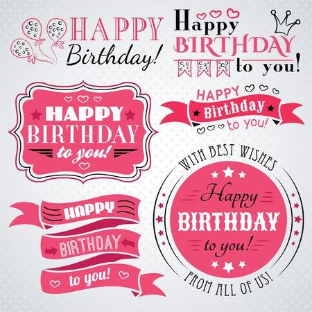 globos de cumpleaños: Feliz colección de tarjetas de felicitación de cumpleaños en el diseño de fiesta. Estilo vintage retro.