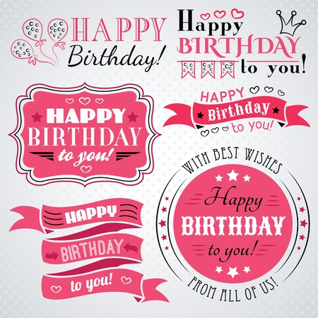 text pink: Happy birthday greeting card collection in holiday design. Retro vintage style. Illustration