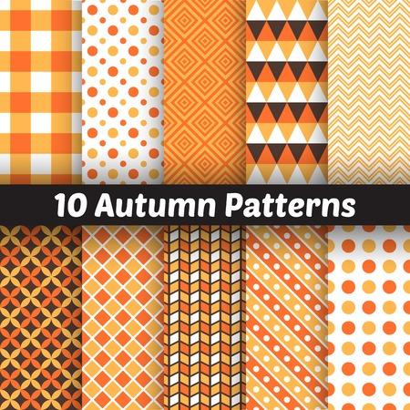 10 Autumn vector seamless patterns.  Vector