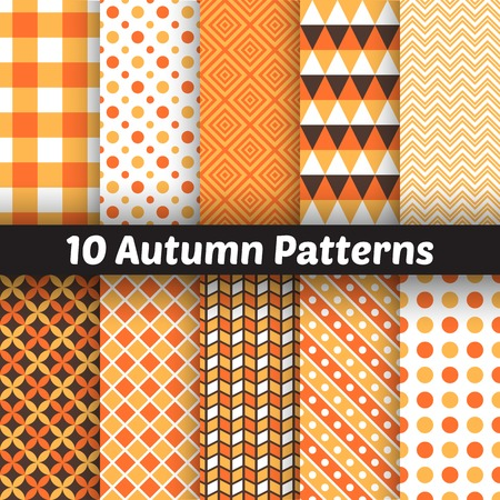 10 Autumn vector seamless patterns.