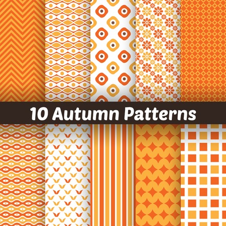 10 Autumn vector seamless patterns.  Vector