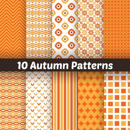 fall: 10 Autumn vector seamless patterns.